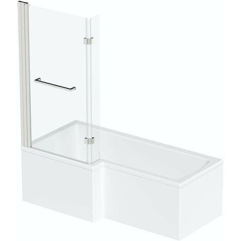 Mode L shaped left handed shower bath 1700mm with 8mm hinged shower screen and rail