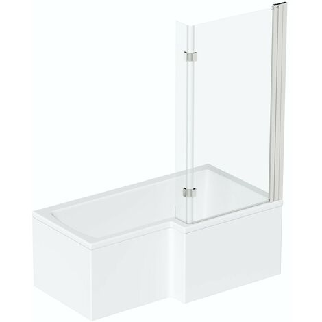 Mode L shaped right handed shower bath 1700mm with 8mm hinged shower screen