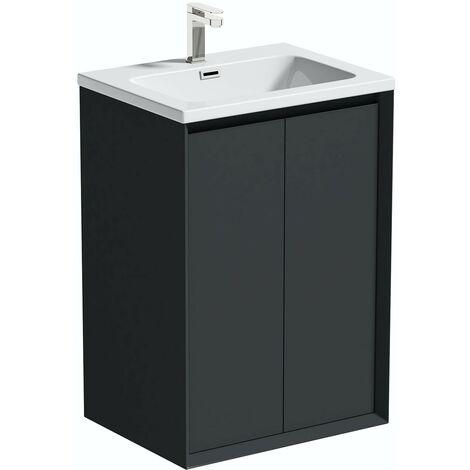 Mode Larsen grey gloss floorstanding vanity unit and basin 600mm