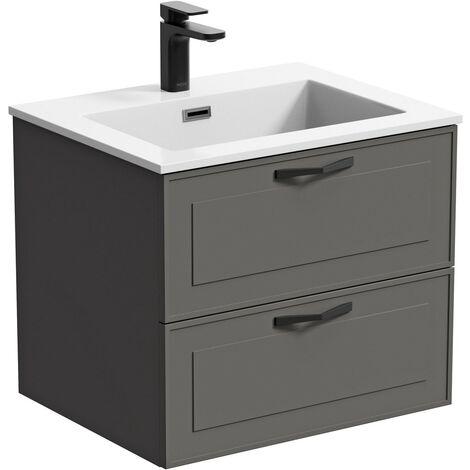 "main image of ""Mode Meier grey wall hung vanity unit and basin 600mm"""