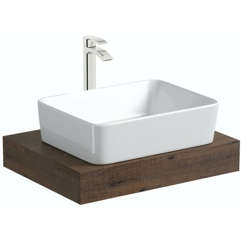 Mode Orion chestnut countertop shelf 600mm with Ellis countertop basin, tap and waste