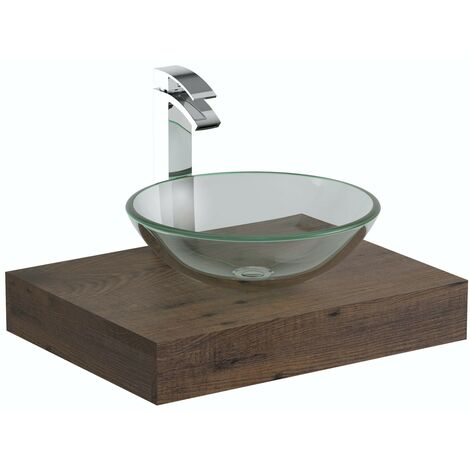 Mode Orion chestnut countertop shelf 600mm with Mackintosh glass countertop basin, tap and waste
