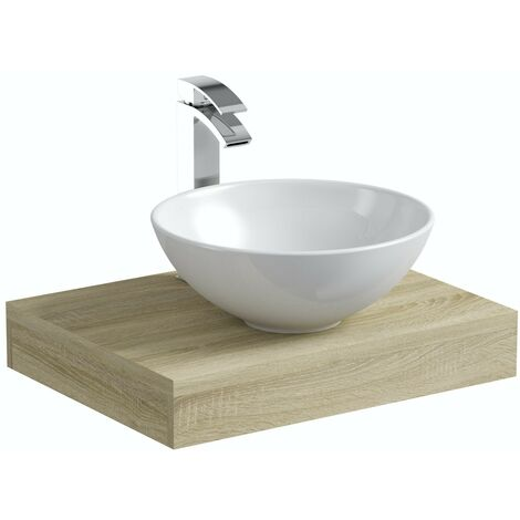 Mode Orion oak countertop shelf 600mm with Derwent countertop basin, tap and waste