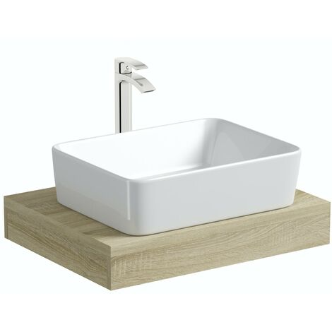 Mode Orion oak countertop shelf 600mm with Ellis countertop basin, tap and waste