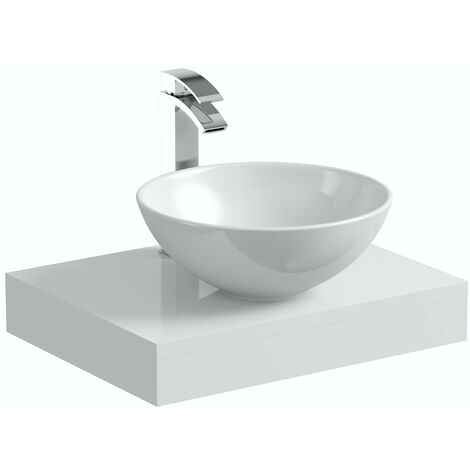 Mode Orion white countertop shelf 600mm with Derwent countertop basin, tap and waste