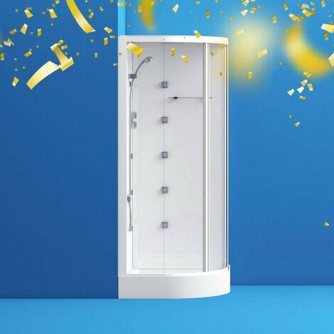 "main image of ""Mode quadrant white glass backed hydro massage shower cabin 900 x 900"""