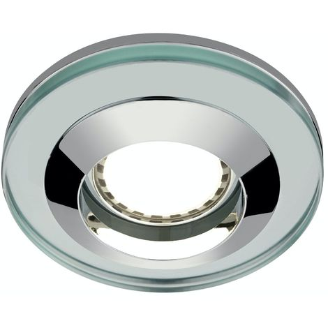 Mode Round glass shower light with dimmable bulb in warm white