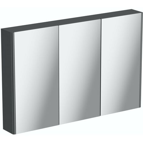 Mode slate gloss grey mirror cabinet 650 x 1000mm