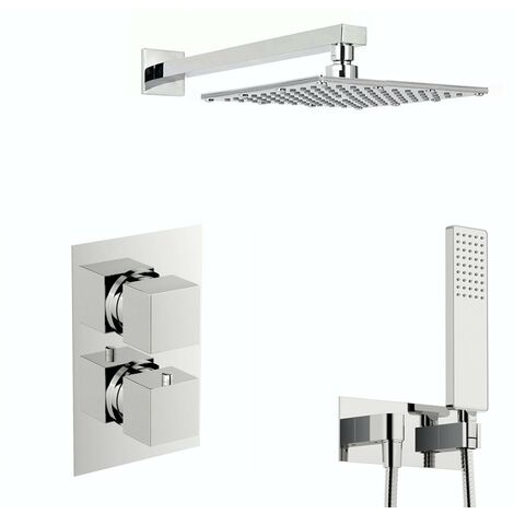 Mode Spa square thermostatic twin shower valve with diverter and wall shower outlet set with 250mm shower head