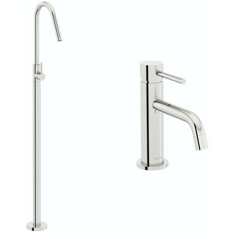 Mode Spencer basin and freestanding bath filler tap pack
