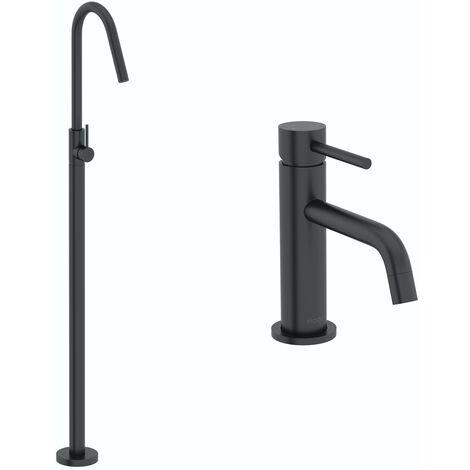 Mode Spencer black basin and freestanding bath filler tap pack