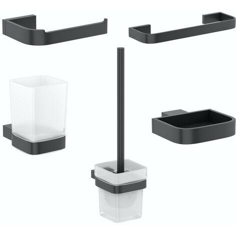 Mode Spencer black ensuite 5 piece accessory set
