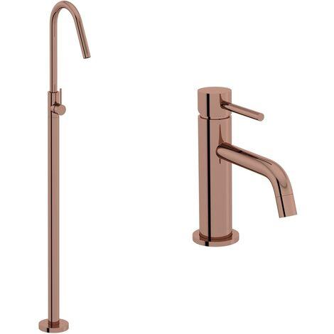 Mode Spencer rose gold basin and freestanding bath filler tap pack