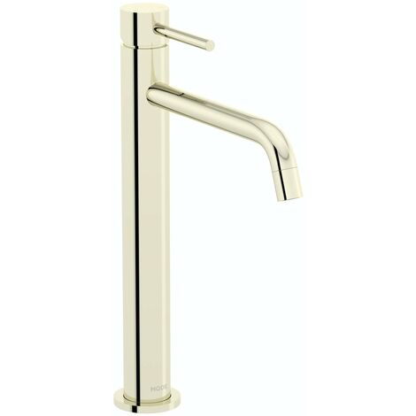 Mode Spencer round gold high rise basin mixer tap