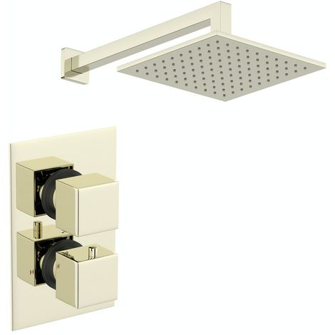 Mode Spencer square gold twin valve shower set