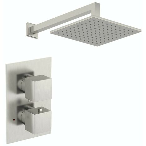 Mode Spencer square thermostatic twin valve brushed nickel shower set