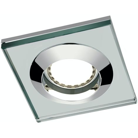 Mode Square glass shower light with dimmable bulb in cool white