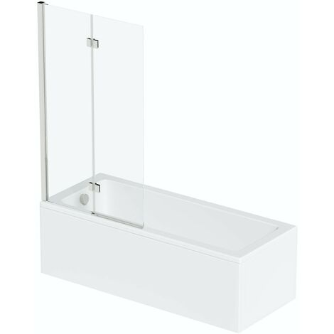 Mode straight shower bath with 8mm hinged panel shower screen 1700 x 700