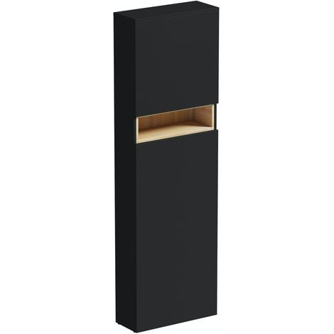 Mode Tate anthracite black & oak slimline tall back to wall toilet unit 550mm