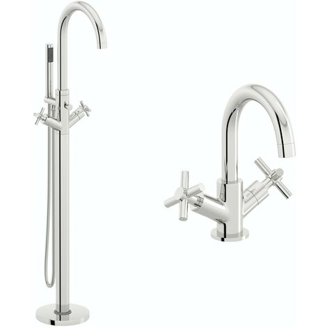 Mode Tate basin and freestanding bath tap pack