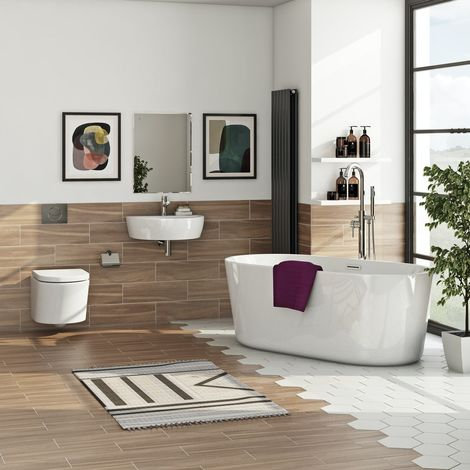 Mode Tate bathroom suite with freestanding bath