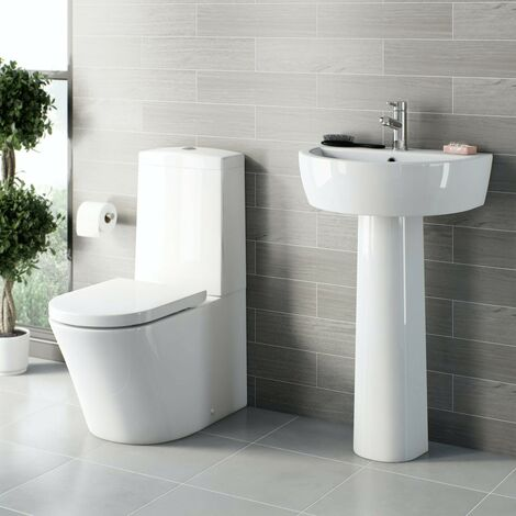 Mode Tate cloakroom suite with full pedestal basin 550mm