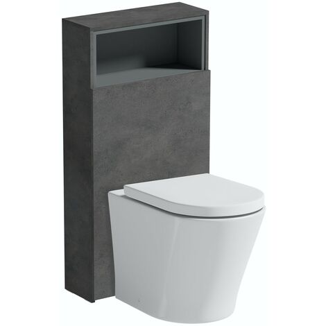 Mode Tate II riven grey back to wall unit and toilet with soft close seat