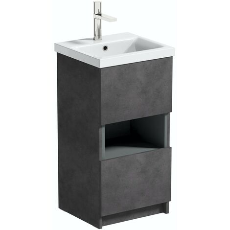 Mode Tate II riven grey cloakroom floorstanding vanity unit and ceramic basin 420mm