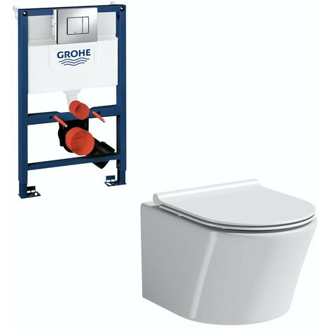 Mode Tate wall hung toilet with slim seat, Grohe frame and Skate Cosmopolitan push plate 0.82m