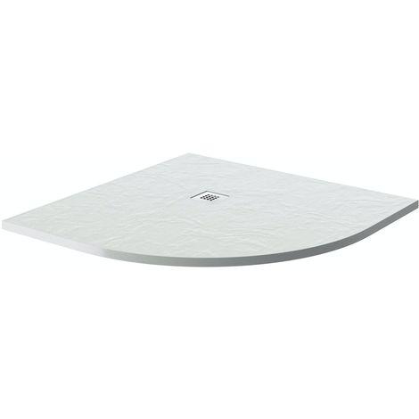 Mode white slate effect quadrant stone shower tray 900 x 900