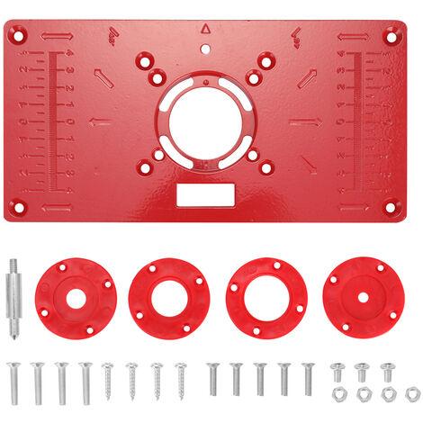 Modelos multifuncional router Insertar tabla de la placa de la madera Bancos de madera de aluminio Router Trimmer maquina de grabado con 4 anillos de Herramientas, Rojo