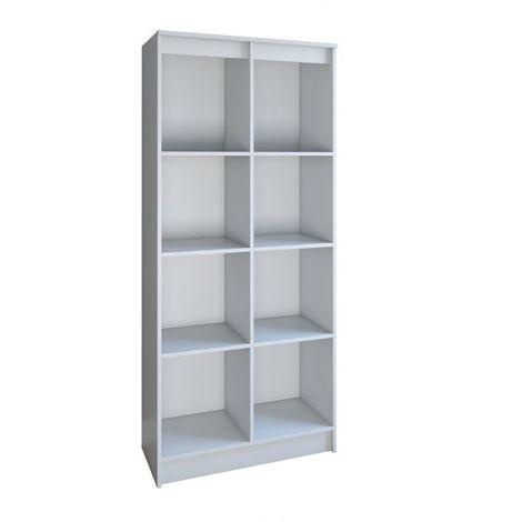 MODENA   Bibliothèque contemporaine 8 casiers salon/bureau/chambre  30x60x180   Meuble de rangement multifonctionnel livres dèco   blanc