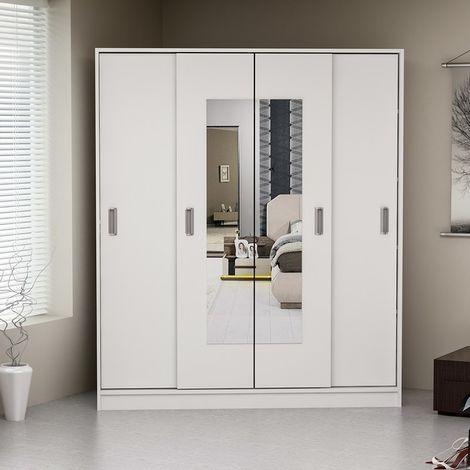 Modena Closet - Wardrobe - Dresser Organizer - with Hinged Doors, Mirror - White, made in Wood, 160 x 55 x 180 cm