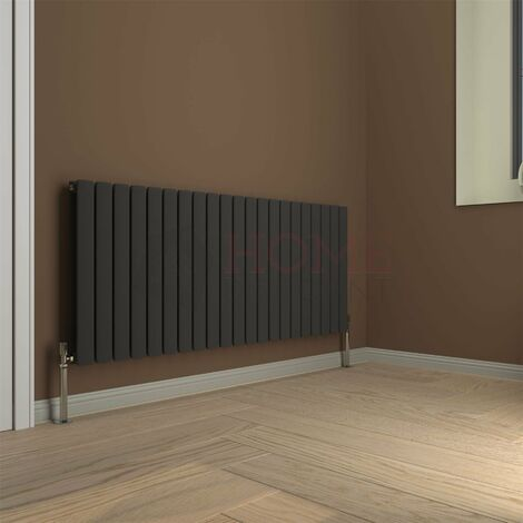 Modena Flat Double Horizontal Radiator, 600 x 1428mm, Grey