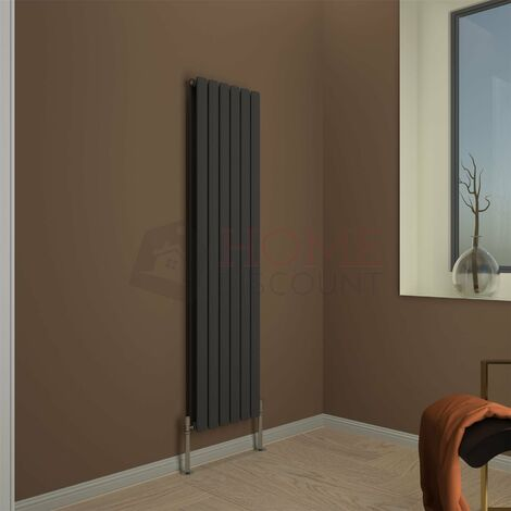 Modena Flat Double Vertical Radiator, 1600 x 408mm, Grey