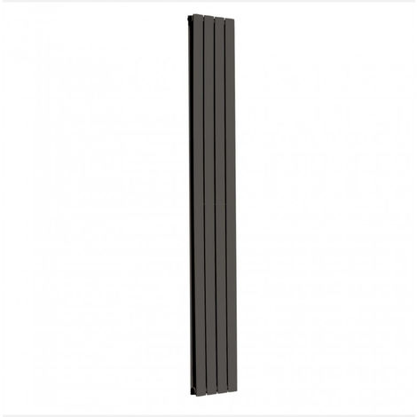 Modena Flat Double Vertical Radiator, 1800 x 272mm, Black