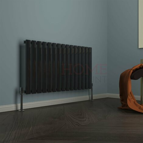 Modena Flat Single Horizontal Radiator, 600 x 1020mm, Black