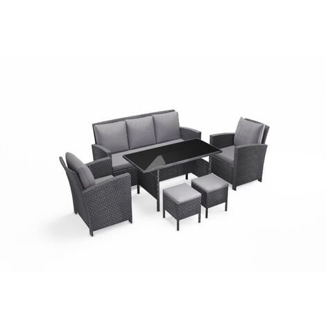 Modena gris - Salon de jardin 6 pièces - Résine tressée - 222682