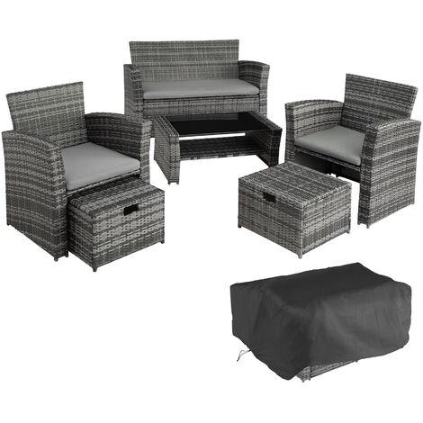 Rattan garden furniture set Modena - garden sofa, garden sofa set, rattan sofa - grey