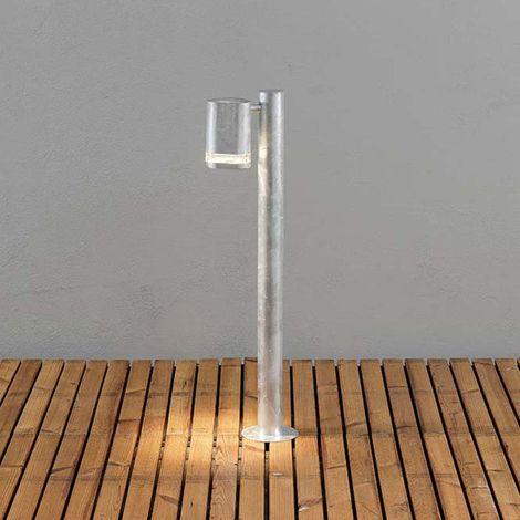 Modena Wegeleuchte mit Pfahl galvanisierter Stahl, klares Acrylglas, Reflektor