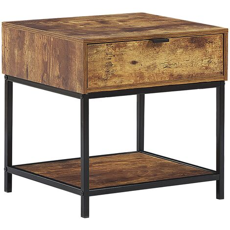 Modern 1 Drawer Shelf Living Room End Side Dark Wood Black Frame Berkley