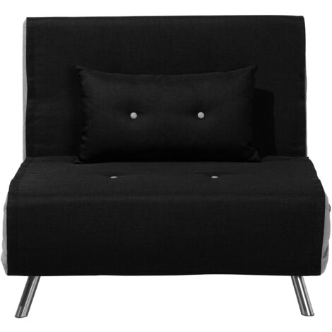 Modern 1 Seater Fabric Sofa Bed Single Guest Bed Living Room Black Farris
