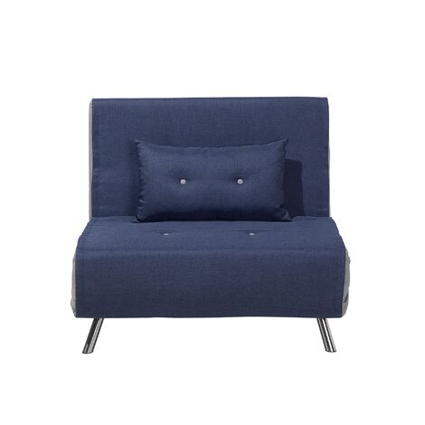 Modern 1 Seater Fabric Sofa Bed Single Guest Bed Living Room Blue Farris