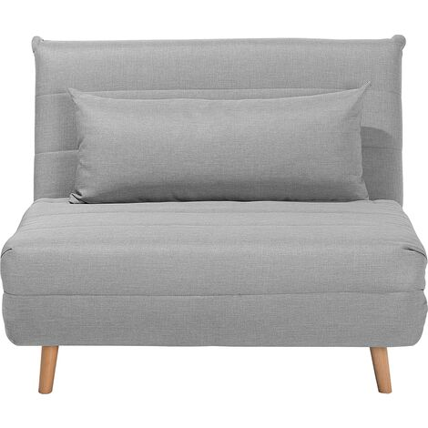 Modern 1 Seater Fabric Sofa Bed Single Guest Bed Living Room Grey Setten