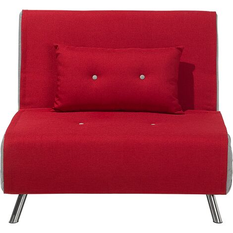 Modern 1 Seater Fabric Sofa Bed Single Guest Bed Living Room Red Farris