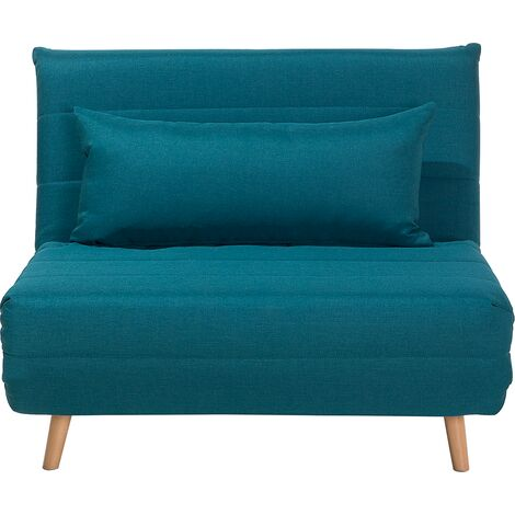 Modern 1 Seater Fabric Sofa Bed Single Guest Bed Living Room Sea Blue Setten
