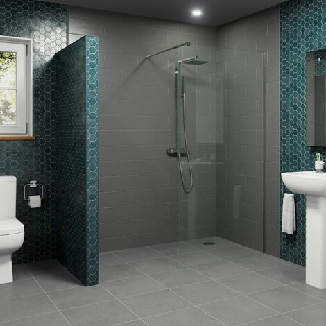 L Shape Wet Room Shower Screen and 300mm Fixed Return Panel Walk in Glass