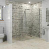 Modern 1200mm Walk In Wet Room Shower Screen Return Panel Easy Clean 8mm Glass