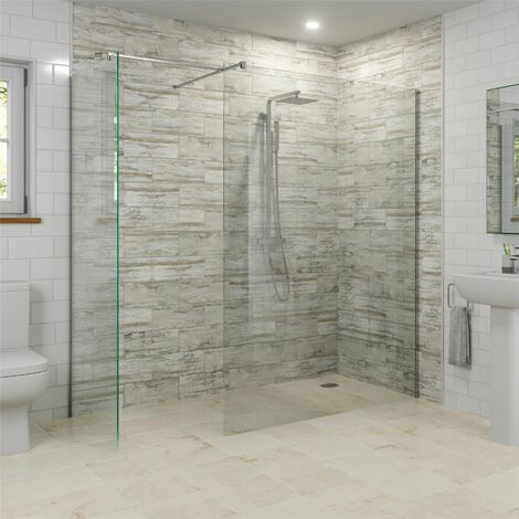 Modern 1400mm & 800mm Wet Room Screens Walk In Enclosure 8mm Safety Glass Panels
