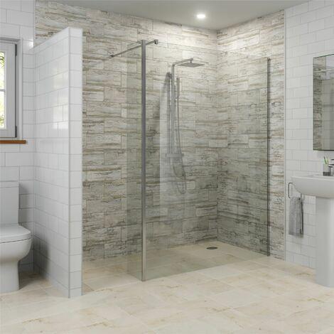 Modern 1400mm Walk In Wet Room Shower Screen Return Panel Easy Clean 8mm Glass